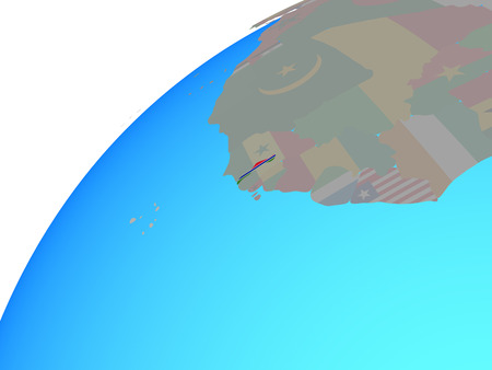 Gambia with embedded national flag on globe. 3D illustration.