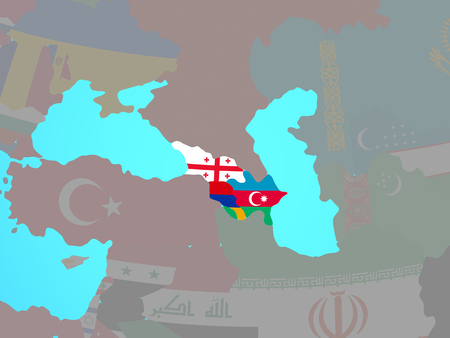 Caucasus region with national flags on blue political globe. 3D illustration.