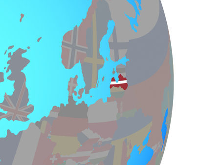 Latvia with national flag on simple political globe. 3D illustration.
