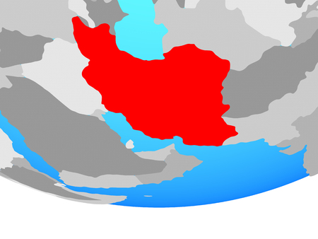 Iran on simple political globe. 3D illustration.
