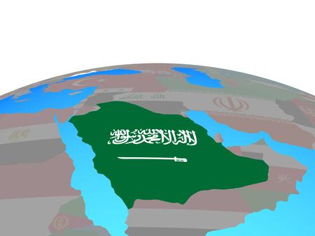 Saudi Arabia with national flag on political globe. 3D illustration.