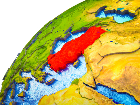 Turkey on 3D Earth model with visible country borders. 3D illustration.