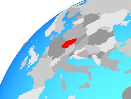 Czech republic on globe. 3D illustration.
