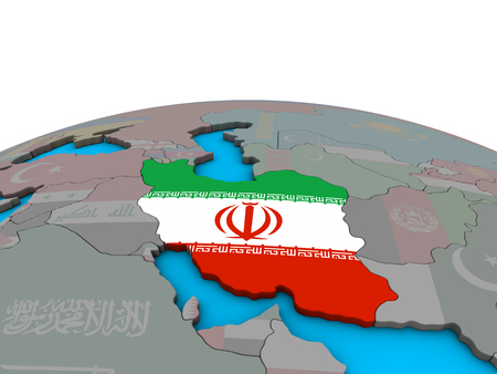 Iran with embedded national flag on political 3D globe. 3D illustration.