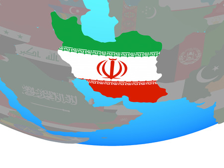 Iran with national flag on simple political globe. 3D illustration. Stock Photo