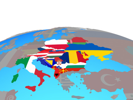 CEI countries with national flags on political globe. 3D illustration. 版權商用圖片
