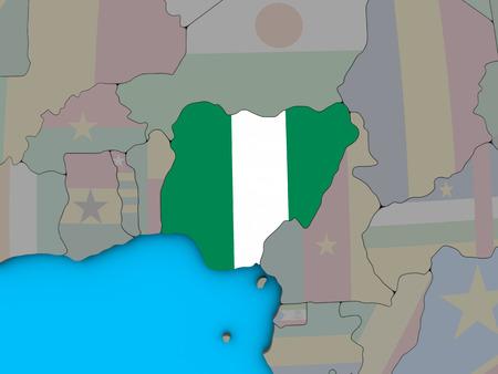 Nigeria with embedded national flag on blue political 3D globe. 3D illustration.