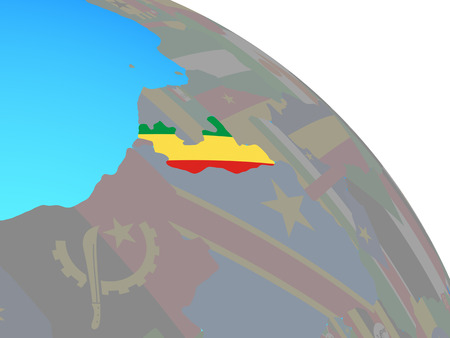 Congo with national flag on simple blue political globe. 3D illustration. Standard-Bild - 110697964