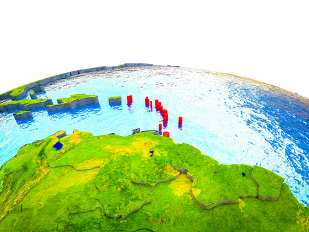 Caribbean on 3D Earth with visible countries and blue oceans with waves. 3D illustration.