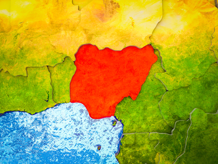 Nigeria on model of 3D Earth with blue oceans and divided countries. 3D illustration.