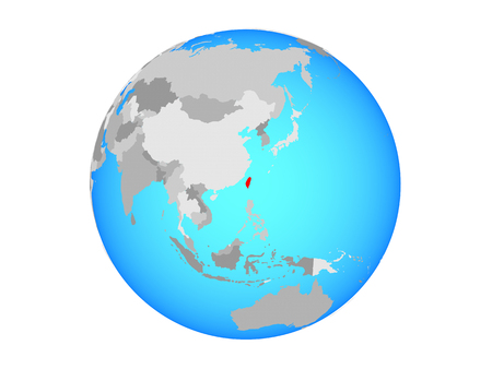 Taiwan on blue political globe. 3D illustration isolated on white background.