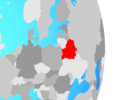 Belarus on simple political globe. 3D illustration.