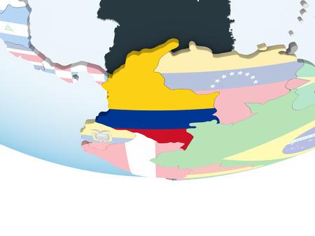 Colombia on bright political globe with embedded flag. 3D illustration. Reklamní fotografie - 110698046