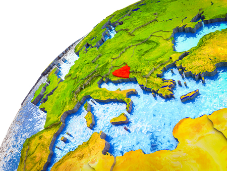Bosnia and Herzegovina on 3D Earth model with visible country borders. 3D illustration.