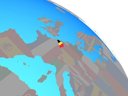 Belgium with national flag on simple blue political globe. 3D illustration. Stock Photo