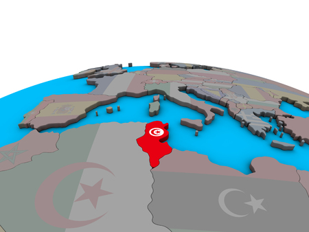 Tunisia with embedded national flag on political 3D globe. 3D illustration.
