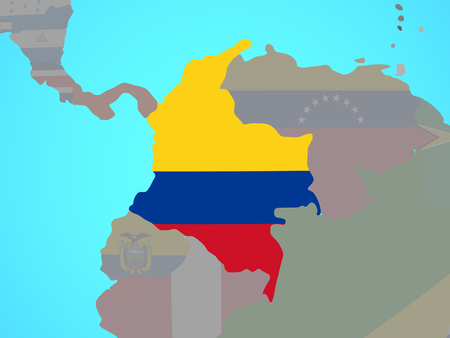 Colombia with national flag on blue political globe. 3D illustration.