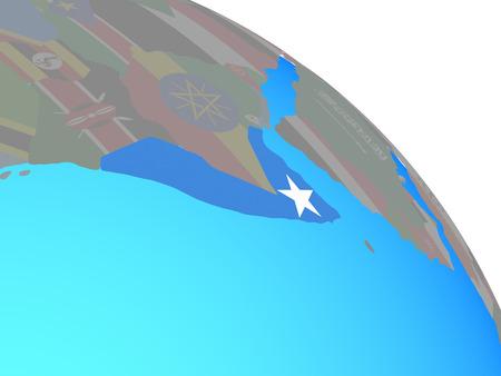 Somalia with national flag on simple blue political globe. 3D illustration.