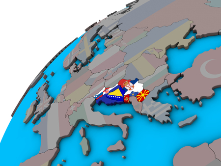 Former Yugoslavia with national flags on 3D globe. 3D illustration.