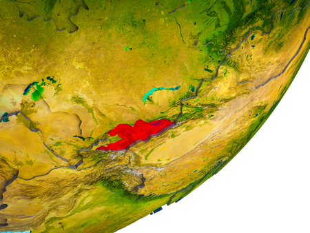Kyrgyzstan on 3D model of Earth with water and divided countries. 3D illustration. Stock Photo