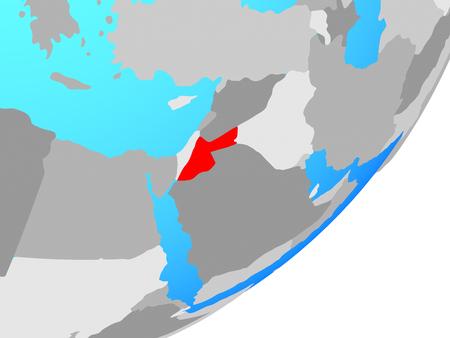 Jordan on blue political globe. 3D illustration.