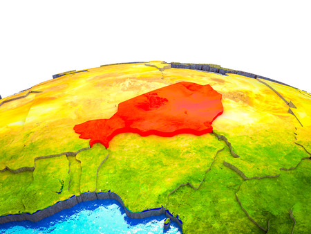 Niger on 3D Earth with visible countries and blue oceans with waves. 3D illustration.