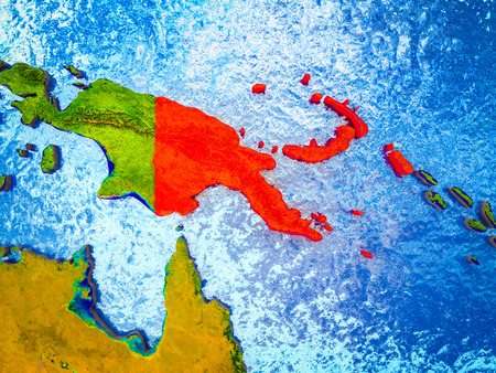 Papua New Guinea on model of 3D Earth with blue oceans and divided countries. 3D illustration. Stock Illustration - 110695904