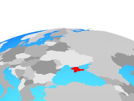 Crimea on political globe. 3D illustration. Stock Photo