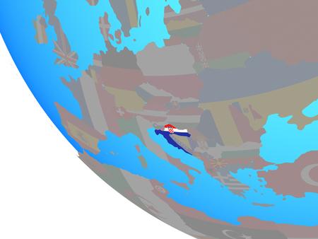 Croatia with national flag on simple globe. 3D illustration.