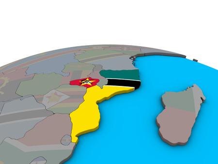 Mozambique with embedded national flag on political 3D globe. 3D illustration. Standard-Bild - 110695995