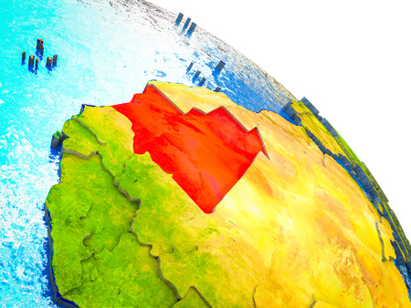 Mauritania Highlighted on 3D Earth model with water and visible country borders. 3D illustration. Фото со стока