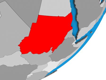 Sudan on blue political 3D globe. 3D illustration. Stock Photo