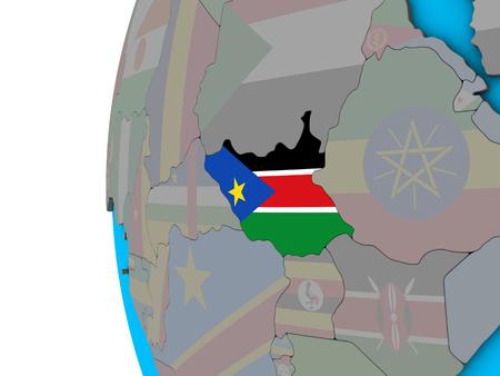 South Sudan with national flag on blue political 3D globe. 3D illustration.