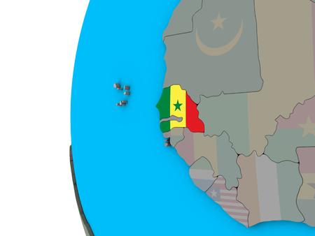 Senegal with national flag on blue political 3D globe. 3D illustration.