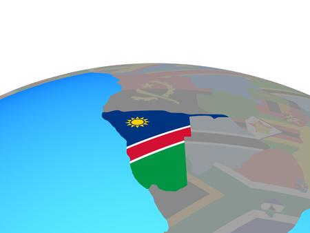 Namibia with national flag on political globe. 3D illustration.