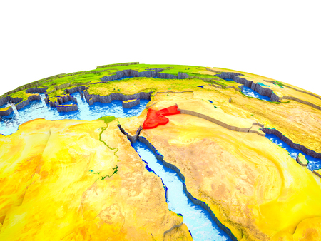 Jordan on 3D Earth with visible countries and blue oceans with waves. 3D illustration. Stockfoto