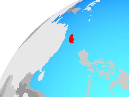Taiwan on globe. 3D illustration. Stok Fotoğraf