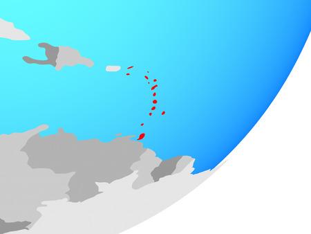 Caribbean on blue political globe. 3D illustration. Stock Photo