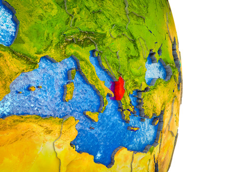 Albania on 3D model of Earth with divided countries and blue oceans. 3D illustration.