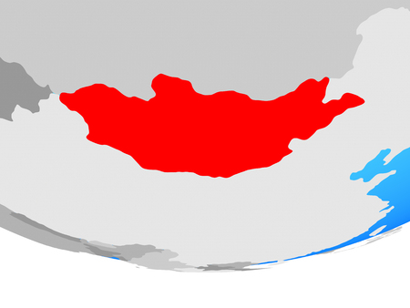 Mongolia on simple political globe. 3D illustration.