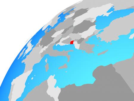 Montenegro on globe. 3D illustration. Stock Photo