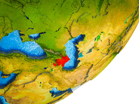 Azerbaijan on 3D model of Earth with water and divided countries. 3D illustration. Stockfoto