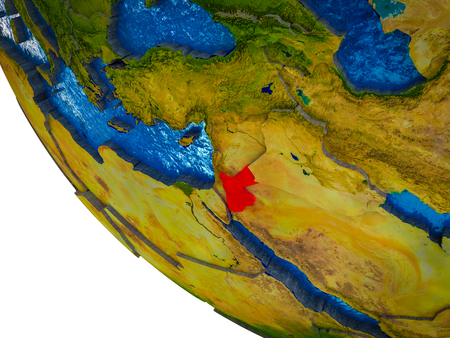 Jordan on model of Earth with country borders and blue oceans with waves. 3D illustration. Stockfoto - 110696640