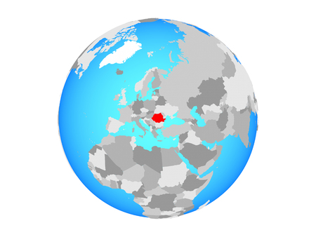 Romania on blue political globe. 3D illustration isolated on white background.