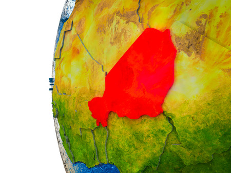 Niger highlighted on 3D Earth with visible countries and watery oceans. 3D illustration. Stock Photo
