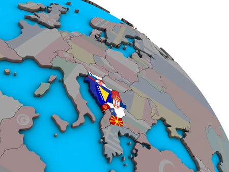 Former Yugoslavia with embedded national flags on simple blue political 3D globe. 3D illustration. Stock Photo