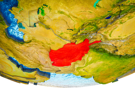 Afghanistan on 3D Earth with divided countries and watery oceans. 3D illustration. Stock Photo