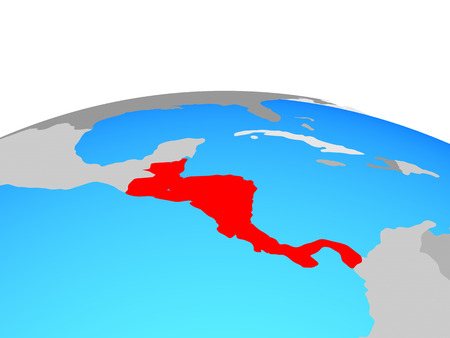 Central America on political globe. 3D illustration.