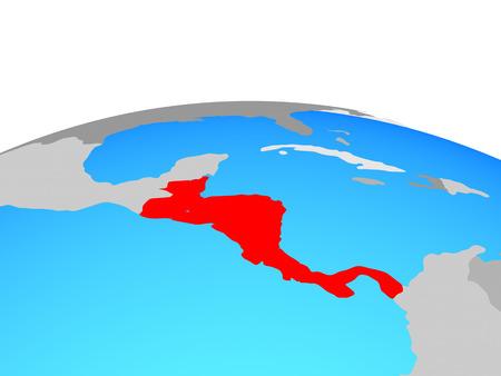 Central America on political globe. 3D illustration.