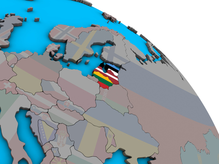 Baltic States with embedded national flags on simple blue political 3D globe. 3D illustration.